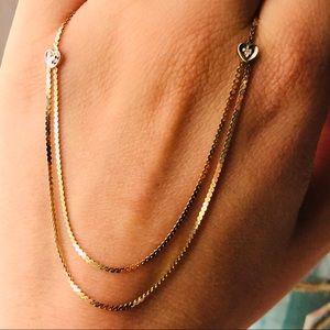 VTG 14k Yellow Gold Serpentine Diamond Necklace
